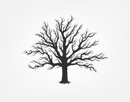 black tree: illustration of a tree in the garden. Icon of ecology in nature