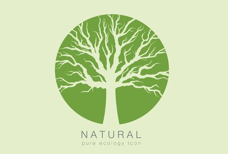 cultivation: pure ecology icon with a dark background and a green tree