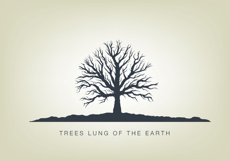 illustration of a tree in the garden. Icon of ecology in nature