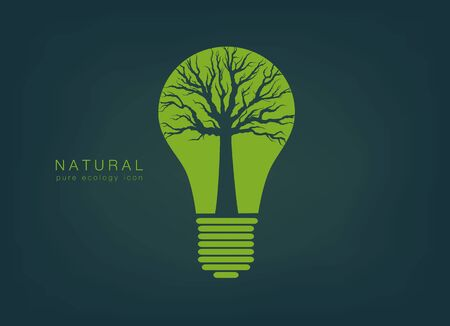 green light bulb: pure ecology icon with a green light bulb and tree