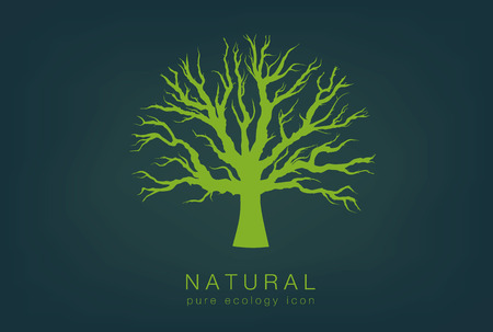 people silhouette: pure ecology icon with a dark background and a green tree