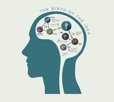 the birth of ideas in a conceptual illustration of the human head
