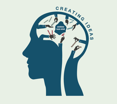derivation: the birth of ideas in a conceptual illustration of the human head