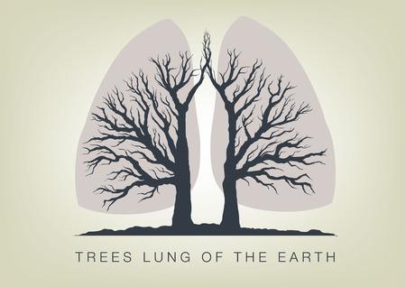 arbol de la vida: Árboles - los pulmones del planeta. Icono de la ecología en la naturaleza Vectores