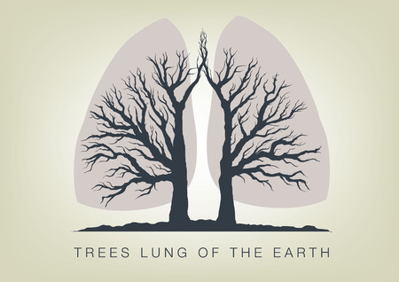 lungs: Trees - the lungs of the planet. Icon of ecology in nature