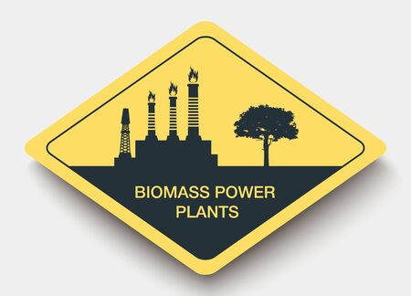 power plants: sign Biomass Power Plants and energy. yellow a rhombus icon