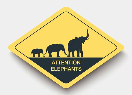 piktogramm: icon attention elephants and shadow. yellow a rhombus icon