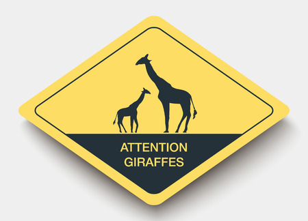 safely: sign attention giraffes and shadow. yellow a rhombus icon
