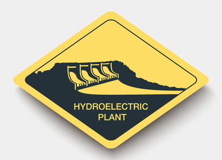 hydroelectric: icon hydroelectric plant and energy. yellow a rhombus icon Illustration