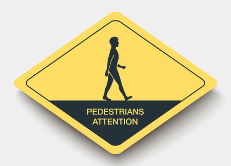 yellow attention: icon pedestrians attention and shadow. yellow a rhombus icon Illustration