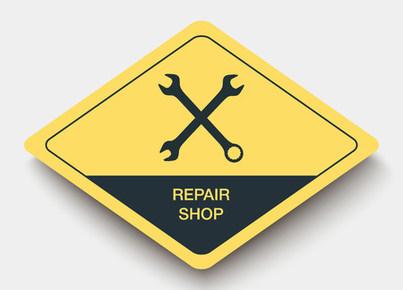 servicing: icon REPAIR SHOP and shadow. yellow a rhombus icon
