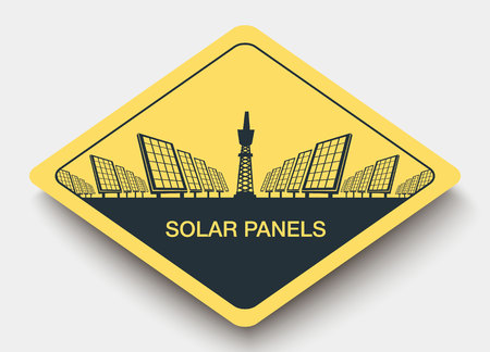 viewfinderchallenge3: icon solar panels plant and energy. yellow a rhombus icon Illustration