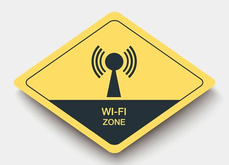 wifi: icon WI-FI ZONE and shadow. yellow a rhombus icon Illustration