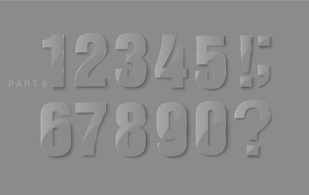 web 2 0: set of numerals of the classic shiny embossed numbers Illustration