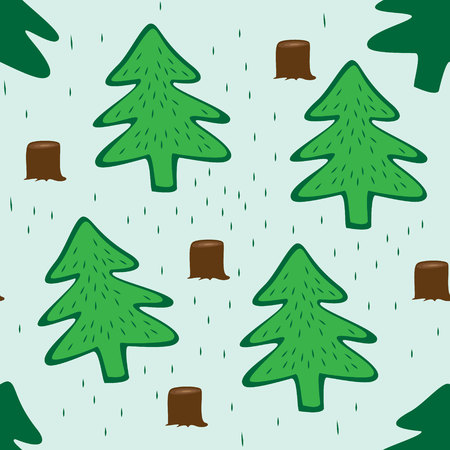 stumps: Seamless green background with fir trees, stumps and grass