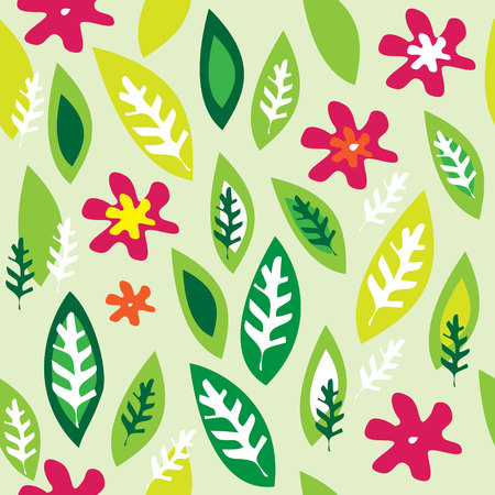 retro flower: seamless light green background with colored flowers and leaves