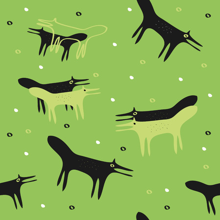 forest animals: seamless light green background with the foxes and the dark green
