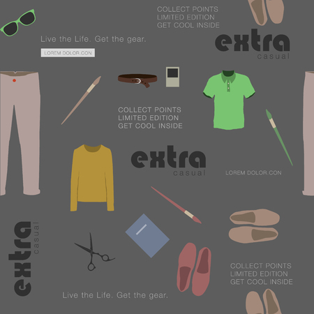 attributes: seamless gray with stylish clothes and attributes hipster Illustration
