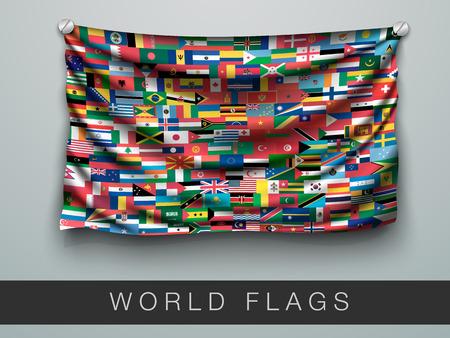 Alle Flaggen der Welt in einer Flagge mit Schatten