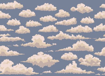 the heavens: seamless illustration of blue background with vintage clouds Illustration