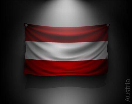 independencia: Austria ondeando bandera en una pared oscura con un foco de luz, sistema de iluminaci�n