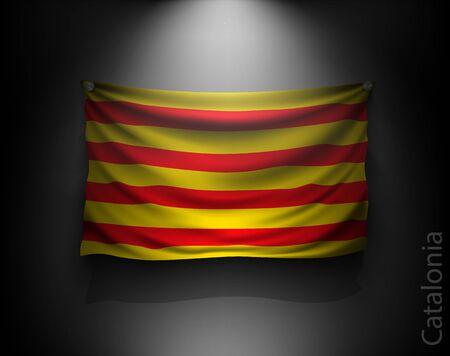 waving flag catalonia on a dark wall with a spotlight, illuminated