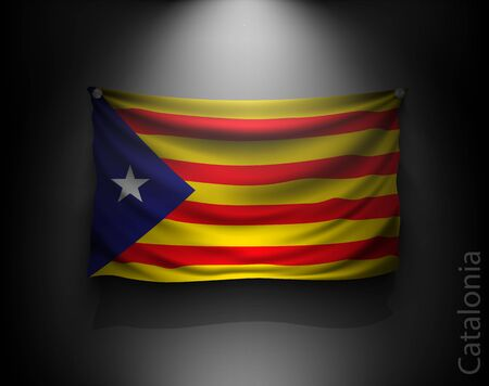 regions: waving flag catalonia on a dark wall with a spotlight, illuminated Illustration