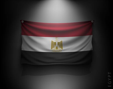 flag of egypt: waving flag egypt on a dark wall with a spotlight, illuminated