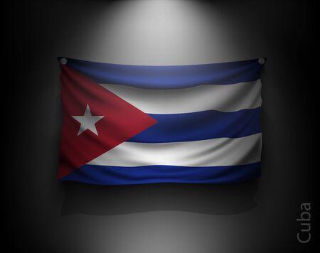 flag of cuba: waving flag cuba on a dark wall with a spotlight, illuminated