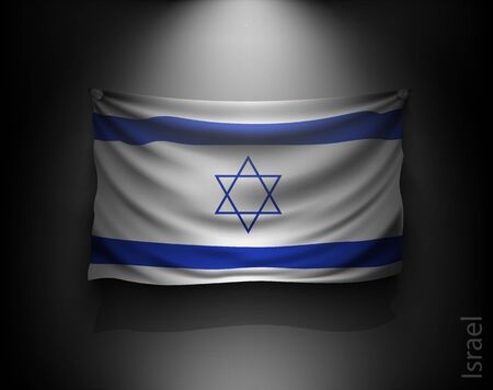 israeli: waving flag israel on a dark wall with a spotlight, illuminated Illustration