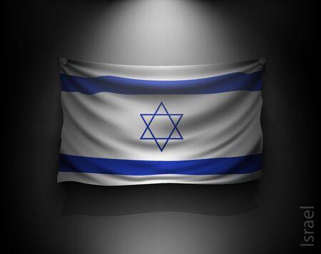 israeli: waving flag israel on a dark wall with a spotlight, illuminated Illustration