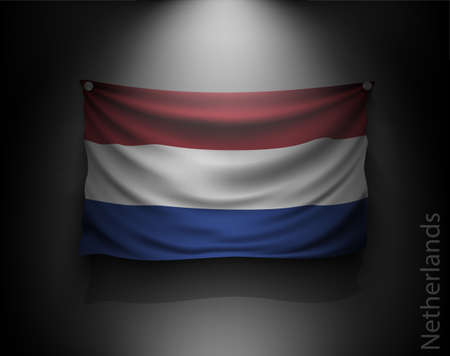 flag of netherlands: waving flag Netherlands on a dark wall with a spotlight, illuminated Illustration