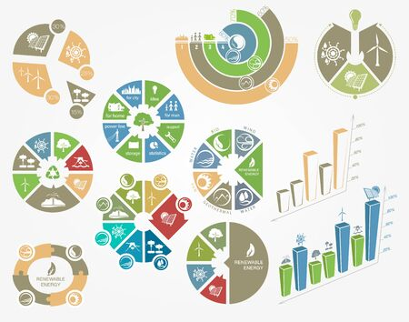 eco energy: set of diagrams and graphs the concept of ecology and renewable energy Illustration