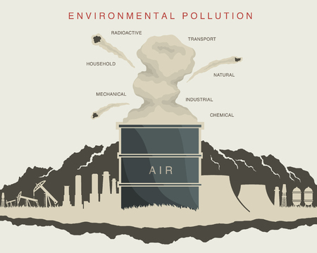 illustration of environmental pollution in the atmosphere Illustration