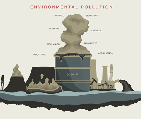 dioxin: illustration of environmental pollution of the world ocean Illustration