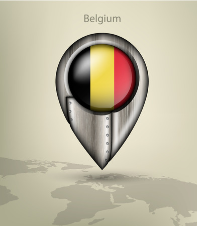 belgium flag: metal map marker steel with glare and shadows belgium