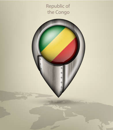 republic of the congo: metal map marker steel with glare and shadows congo