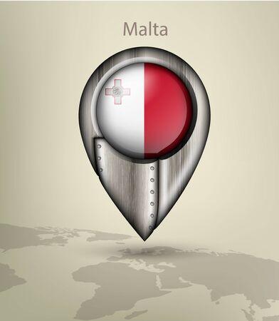 malta map: metal map marker steel with glare and shadows malta Illustration