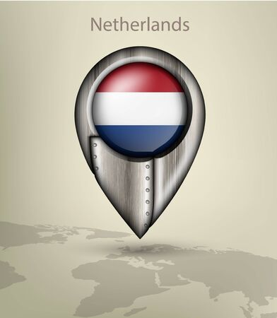 netherland: metal map marker steel with glare and shadows netherland Illustration