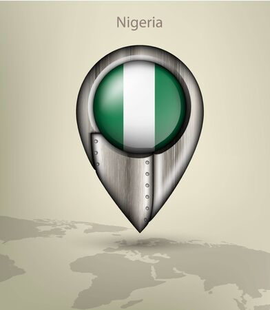 nigeria: metal map marker steel with glare and shadows nigeria