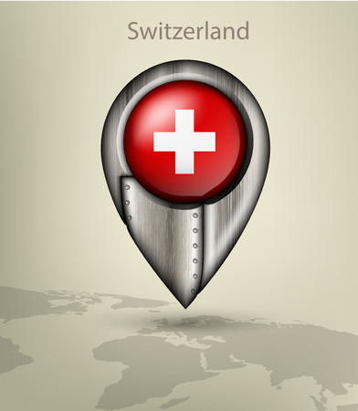 swiss flag: metal map marker steel with glare and shadows switzeland