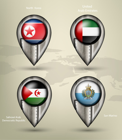 sahrawi arab democratic republic: metal map marker steel country with glare and shadows