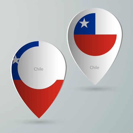 flags of the world: paper of map marker for maps and navigators chile