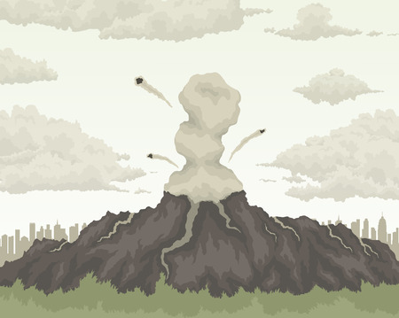 erupting: erupting volcano mountain air pollution ecology concept Illustration