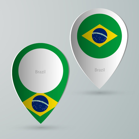 tourist guide: paper of map marker for maps and navigators brazil