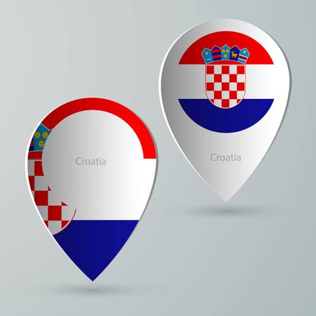 tour guide: paper of map marker for maps and navigators croatia Illustration