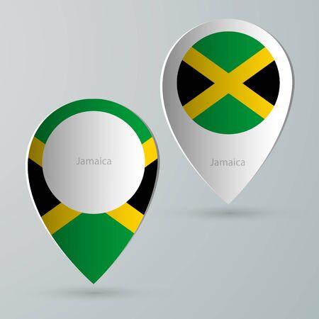 internet mark: paper of map marker for maps and navigators jamaica Illustration