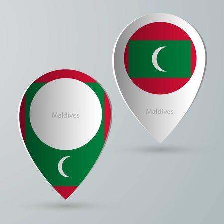 internet mark: paper of map marker for maps and navigators maldives