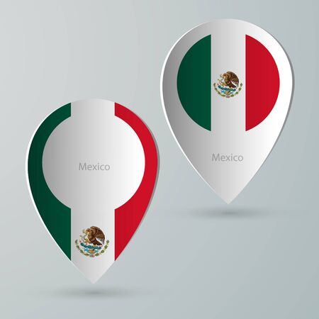 tour guide: paper of map marker for maps and navigators mexico Illustration