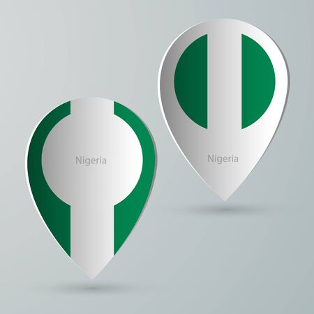 tour guide: paper of map marker for maps and navigators nigeria Illustration